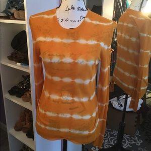 Michael Kors Orange Knit Tie Dye Shirt M